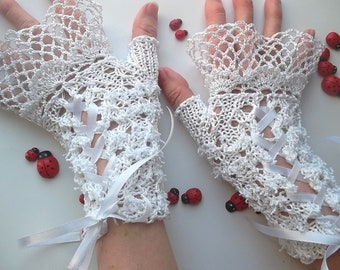 Crocheted Cotton Gloves L Ready To Ship Victorian Fingerless Summer Women Wedding Lace Evening Knitted Bridal Party White Corset Opera B59