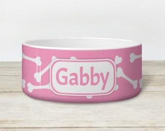 Pink Bone Personalized Dog Bowl - Heavyweight Ceramic Dog Bowl - White Bone Pattern over Pink - Made to Order