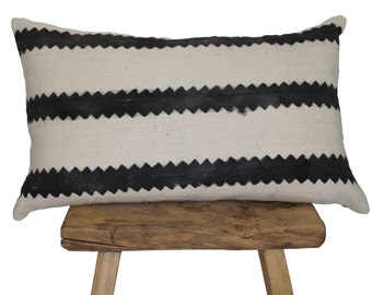 """Authentic African Mudcloth Zigzag Striped Lumbar Pillow Covers 26""""x16"""""""