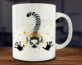 Lemur Mug, Watercolor Lemur Coffee Mug, Kitchen Art (A261-rts)