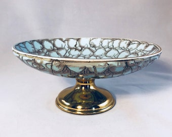 Mid Century Delftware Porcelain Hand Painted Robins Egg Blue and Brass Pedestal Bowl