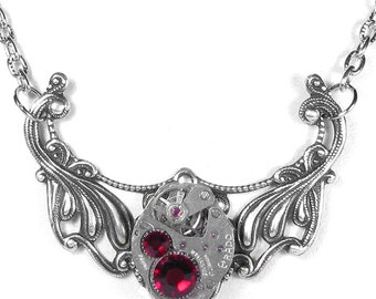 Steampunk Jewelry Necklace Vintage Watch Movement Silver Pendant DARK RED Crystals Mothers Christmas Holiday Women - by Steampunk Boutique