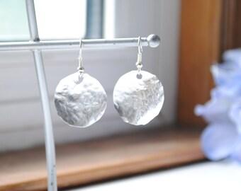 Round Hammered Metal Earrings