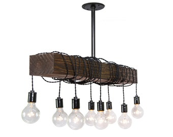 Chandelier - Home design - Wood Light - Hanging Light - Vintage Light - Bar Light - Reclaimed Wood - fixture - swag light - rustic light