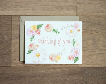 thinking of you card with hand painted flowers - sympathy card - flowers - love - hand painted