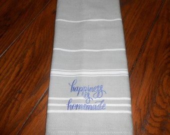 """Kitchen Towel with Embroidered Quote """"Happiness is Homemade"""""""