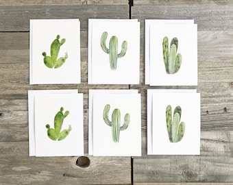 Cactus Cards, Cactus Decor, Set of watercolor cards, 4 x 5.5 greeting cards, hand painted cards, cactus stationery