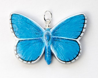 Butterfly Pendant - Adonis Blue  Handmade Hand-painted