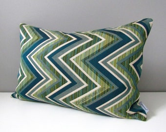 Green Chevron Outdoor Pillow Cover, Modern Pillow Cover, Decorative Pillow Cover, Geometric Sunbrella Cushion Cover, Jade Green, Mazizmuse