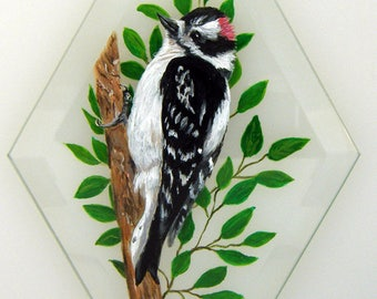 Hand Painted Glass Ornament - Downy Woodpecker