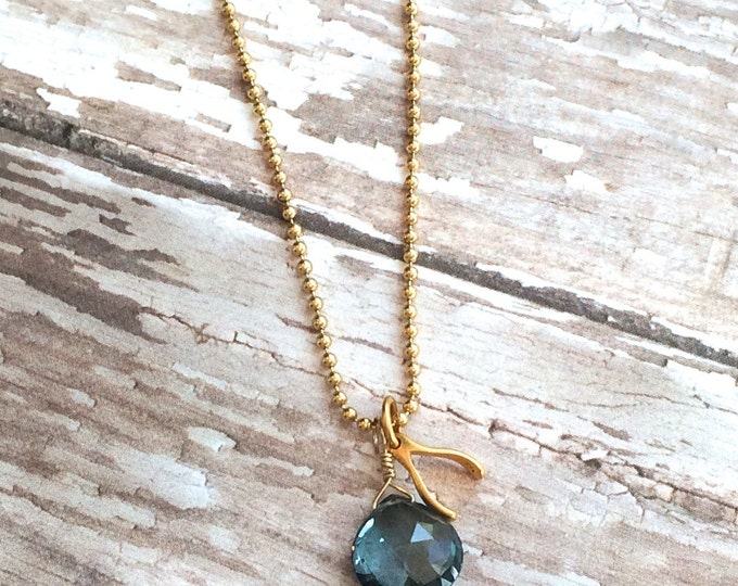 """London Blue Topaz and Gold Wishbone Necklace--16""""  Good Luck Necklace"""