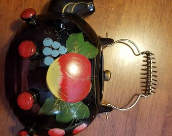 Vintage Red Clay Ware Painted Hanging Wall Pocket