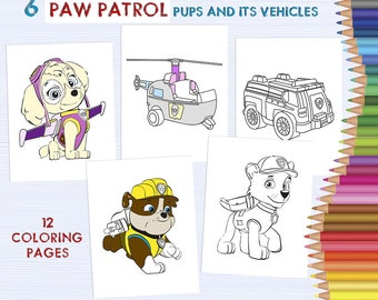Paw Patrol transport - kids coloring sheets, Cartoon character coloring pages, hand drawn coloring printable drawing activity pages DOWNLOAD