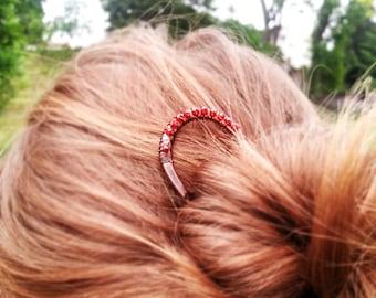Minimal red hair fork in Copper Metal hair stick Long hair Boho accessories Zircon Rustic copper Bun holder Womens gift Womens accessories