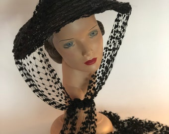 1940s black straw hat with black netting