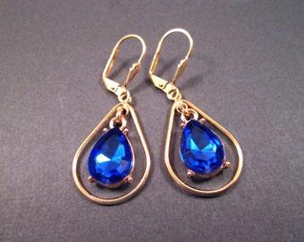 Rhinestone Drop Earrings, Sapphire Blue Resin Stones, Gold Dangle Earrings, FREE Shipping U.S.