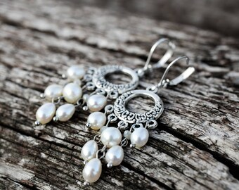 White Pearl Boho Earrings Sterling Silver Earrings Bridal Jewelry Wedding Jewelry Christmass Gift for Her