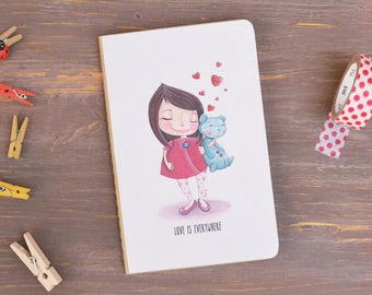 "Mini Notebook ""Love is everywhere"" - Little girl with teddy bear and hearts"
