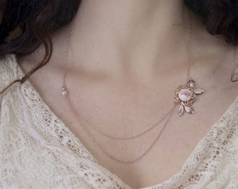 Rose Gold Dainty Layered Necklace, Layered Dainty Necklace, Vintage Style Wedding Necklace Gift, Delicate Bridal Necklace