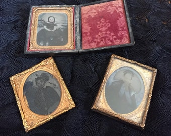 Collection of  Antique Tin type photos with one case