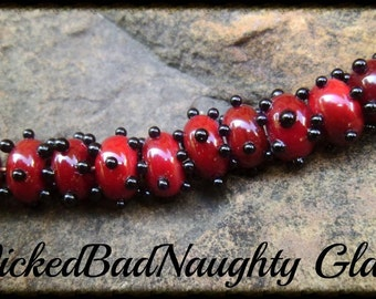 Red And Black Dot Lampwork Glass Set of 10 Beads