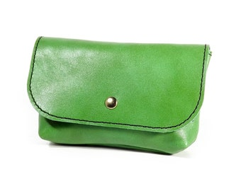 Tobacco pouch / green leather tobacco pouch