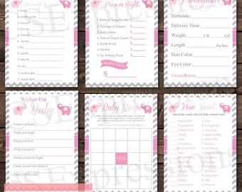 Pink and Gray Chevron Elephant Baby Shower Games Pack