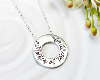 Mother of the Bride - Mother of the Groom - Bridesmaid - Personalized Jewelry - Fixed Washer Necklace - Wedding Party Jewelry - Gift for Mom