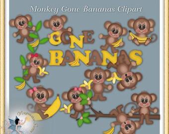 Monkey Gone Bananas Clipart