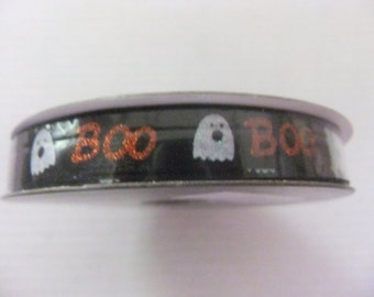 HALLOWEEN RIBBON - GHOSTS/Boo/Halloween Decorating/3/8 Inch Ribbon