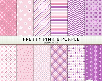 Pretty Pink & Purple Digital Paper -  Scrapbooking -  Digital Craft - for Personal and Commercial - G7816