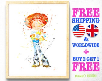 Toy Story Jessie Watercolor Art Print Poster - Home Decor - Wall Art - Watercolor Disney - Gifts - Kids Decor - Nursery Decor - 178