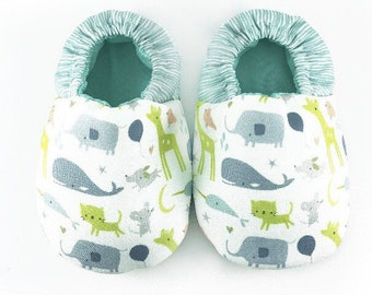 Zoo animals soft soled baby shoes, Crib shoes, Baby first shoes