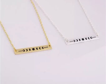 Moon Phases - bar necklace