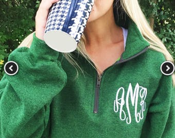 Heather green Monogram 1/4 zip