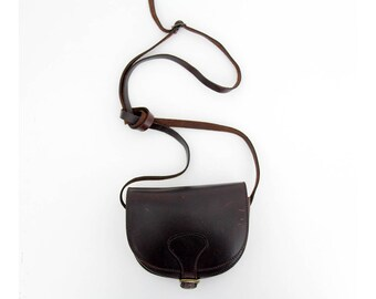 Vintage Leather Messenger Bag // Small 70's Leather Purse // Dark Brown Leather Satchel