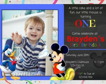 Mickey Mouse Chalkboard Birthday Party Invitation / Mickey Mouse Invitation / Mickey Chalkboard Invitation / Mickey Party Invitation/ Mickey