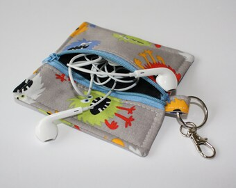 Ear Bud Case, Square Ear Bud Pouch, Small Zippered Case, Key Chain Zippered Pouch