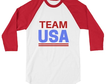 Team USA Winter Olympics 2018 Raglan Baseball Tee (Unisex) | winter, olympics, 2018, team usa, usa, america, PyeongChang 2018