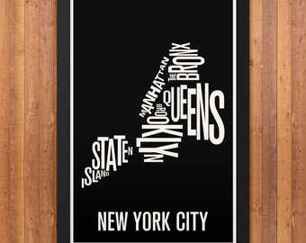"NEW YORK CITY Boroughs Typography Map Print - 12"" x 18"""
