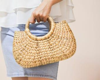 Straw bag Weaving seagrass top handle bag, handmade bag , boho bag, straw purse from Thailand #03