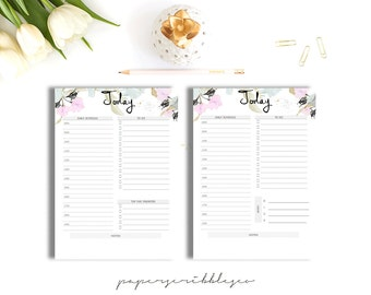 SALE -Daily Planner Printable, To Do List, Printable Daily Schedule, Day Organizer, Daily Agenda, Desk Planner, A4 A5 Personal Insert
