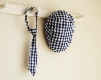 3 months photo prop, navy gingham check flat cap set for baby boy, shower gift idea -  made to order
