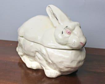 Vintage Ceramic Rabbit Serving Dish with Lid