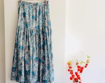 Vintage midi skirt | vintage lange rok | midi rok | flower skirt | 70s bloemenrok| minty skirt | size M