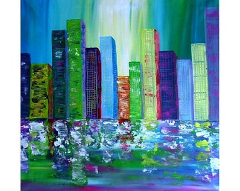 ORIGINAL TEXTURED Palette Knife Skylines Living Room Wall Art  Wall  decor Abstract  Painting Contemporary Landscape Cityscape by Tanja Bell