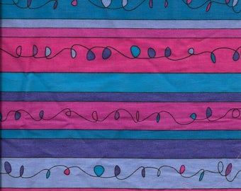 """New Purple Pink and Blue Fancy Stripes 100% Cotton Fabric 19"""" x 42"""" Piece"""