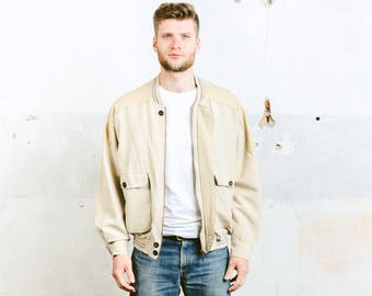 Mens Linen Bomber Jacket . Vintage 80s Beige Coat  Neutral FlaxOuterwear Flight Aviator Jacket Oversized Jacket . size Large