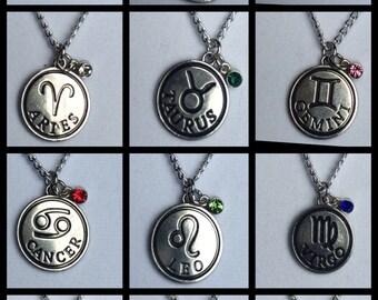 Zodiac Jewelry Zodiac Necklace birthstone necklace Capricorn Aquarius Pisces Aries Taurus Gemini Cancer Leo Virgo Libra Scorpio sagittarius