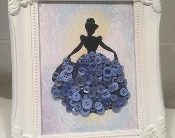 Disney Princess. Cinderella, Belle, Aurora, Sleeping Beauty, Mary Poppins, Button Dress Frame, Wall Art